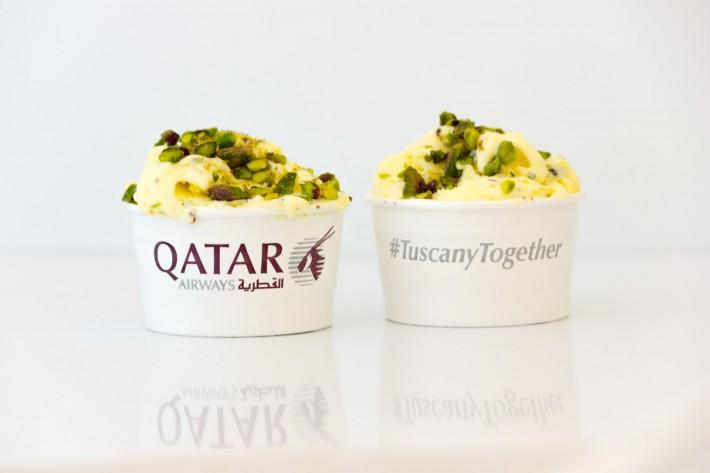 Qatar Airways sbarca a Pisa e si promuove col gelato Made in Tuscany